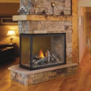 Napoleon FireplacesHigh Definition Clean Face Peninsula with Logs Direct Vent Gas Fireplace