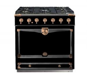 "La Cornue36"" CornuFe 90 Gloss Black With Polished Copper Dual Fuel Range"