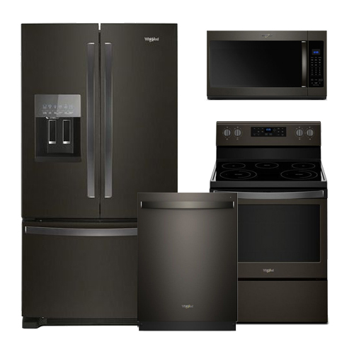 Discount Package Whirlpool Black Stainless Kitchen Package